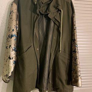 Reversible sequins utility oversized jacket